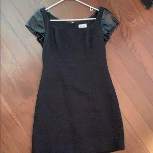 Molly leather sleeve black dress